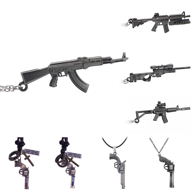 Game Of Fashion M4A1 Gun Model Pendant Necklaces&Pendants Steampunk Alloy Jewelry Arms AK47 AWM Statement Necklace For Men Gifts