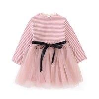 Elegant Girls Dress Long Sleeve 2018 New Girls Clothes Cotton Children Dresses Stripe Clothing Girls Bow