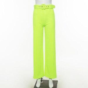 Image 5 - Toplook ניאון רחב רגל מכנסיים 2019 קיץ נשים גבוהה מותן Streetwear פסטיבל מכנסיים רופף שחור בגדי משרד גבירותיי חגורה