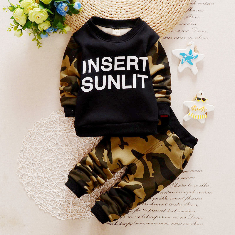 Children Summer Infant Baby Boy Clothes Outfits Sports Suits 2pcs Sets For Baby Boy Letter 100% Cotton Camouflage Uniform Design