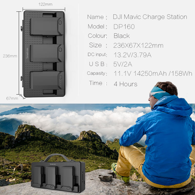 e593af6f789 Smatree Battery Charger For DJI Mavic Air Batteries For Cellphone iPad  Remote Control 14250mAh Charging Hub Charge 3 Batteries-in Digital Batteries  from ...