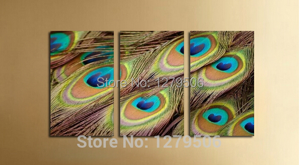Hand Painted Abstract Oil Paintings On Canvas Hang Picture Beautiful Peacock Feather For Living Room Wall Decor