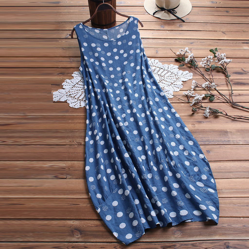 Feitong Summer Dress Women Polka Dot Print Sleeveless Round Neck Loose Beach Dress Sundress Plus Size Casual Women Dresses