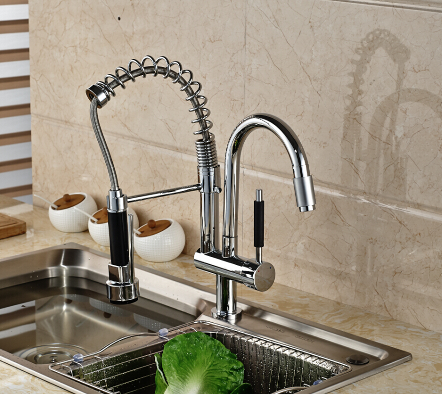 Chrome Brass Kitchen Faucet Spring Vessel Sink Mixer Tap Hot And Cold Tap Swivel Spout Single Handle Hole hot free wholesale retail chrome brass water kitchen faucet swivel spout pull out vessel sink single handle mixer tap mf 264