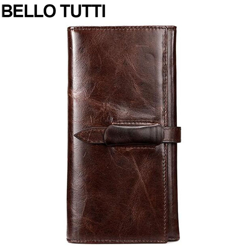 BELLO TUTTI Genuine Cowhide Leather Men Long Wallet Vintage Designer High Quality Casual Coin Purse Male Card Holder Wallets vintage designer men genuine cowhide leather wallet male short coin purse card holder small wallet mini photo holder removeable