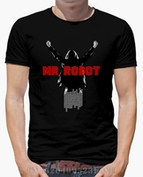 Spring Summer Limited Men T Shirt Mr Robot Short O Neck Fashion Cotton Anime Mens Print
