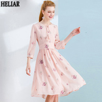 HELIAR Elegant Embroidery Pink Chiffon Party Dresses 2019 Autumn Lace Up Tassel Female Office Lady High Waist Dresses