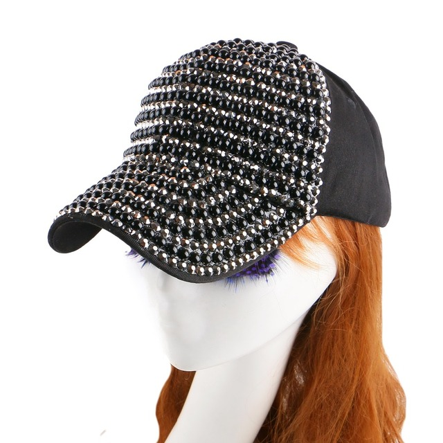 cheap promotional novelty style jet bead crystal decorate bling luxury snapback for women girl woman casual baseball cap chapeau