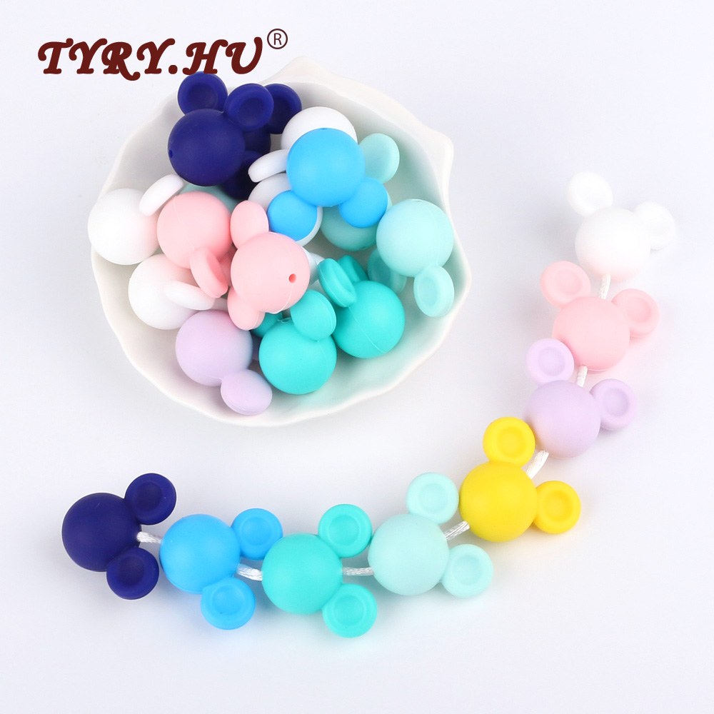 TYRY.HU 5Pcs/Lot Mouse Shape Silicone Biter Beads Teether Baby Teething Pendant Silicone  Pacifier Clips BPA Free Teething Toys