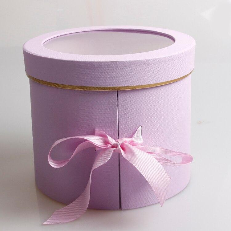 Двухслойные круглые бумажные коробки для цветов с лентой букет роз Подарочная упаковка картонная коробка День Святого Валентина свадебные украшения - Цвет: violet