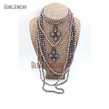 Завязанные кристаллами Бусы Ожерелье длинное многослойное ожерелье цветок припой кристалл кулон ожерелье NM22133