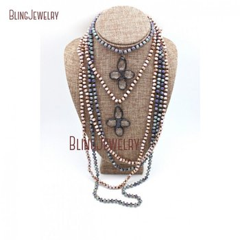 Knotted Crystals Beads Necklace Long Layering Necklace Flower Solder Crystal Pendant Necklace NM22133