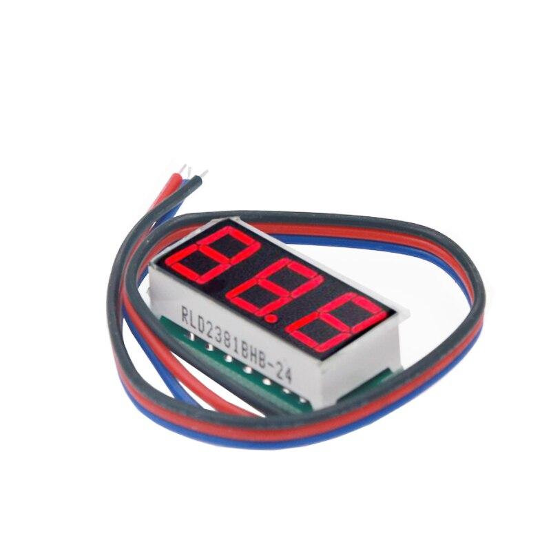 100pcs/lot 0.28 inch 3 bibs Voltmeter Red Digital LED display volt Panel Voltage Meter with three wires DC0-100V 30%off