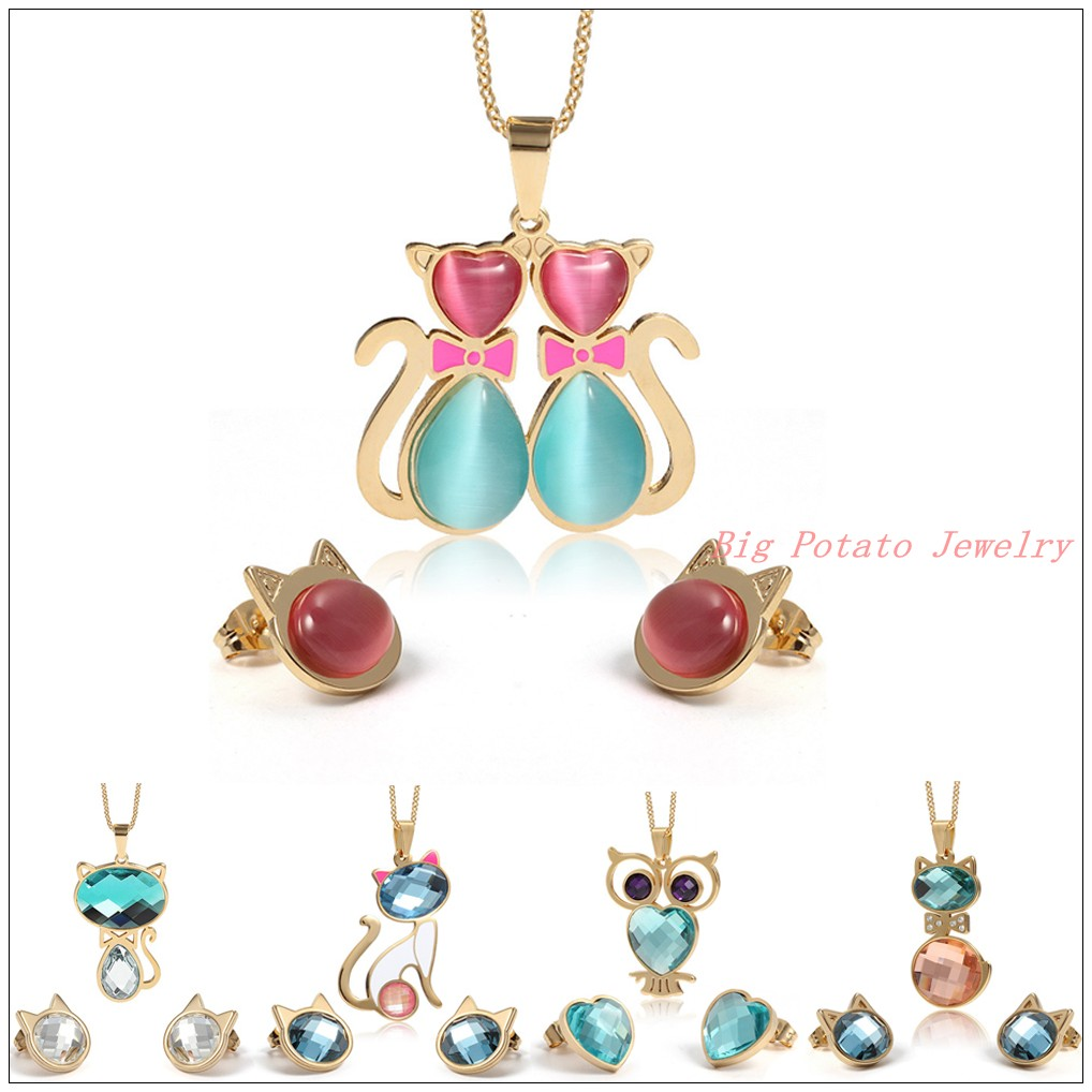 Chaming 316l Stainless Steel Gold Cute Cat Owl Jewelry Sets Womens Girl
