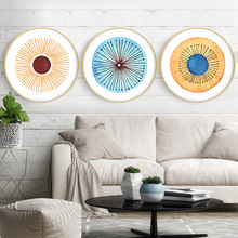 Round decorative painting Ins abstract Nordic modern living room dining creative with frame