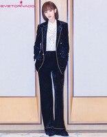 Для женщин Двойной Брестед зубчатый короткие бархатный блейзер + flare Костюм со штанами тонкий элегантный формальные офис бизнес бархат комп