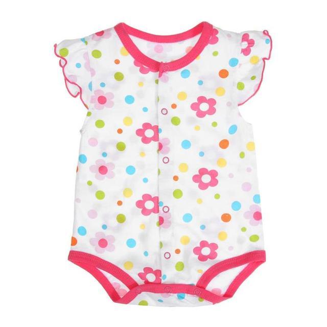 2f58408bf09d Summer Baby Girls Short Sleeve Cartoon Floral Fruit Print Cotton Bodysuit  Newborn O-Neck Buttons