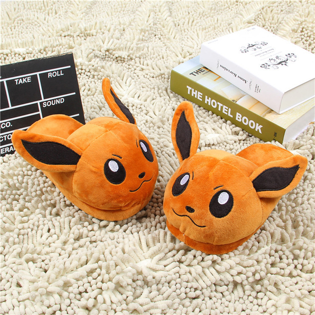 Women Anime Cartoon Pokemon Slippers Lovers Warm Woman Slippers Elf Ball Pikachu Go Plush Shoes Home House Slippers Children
