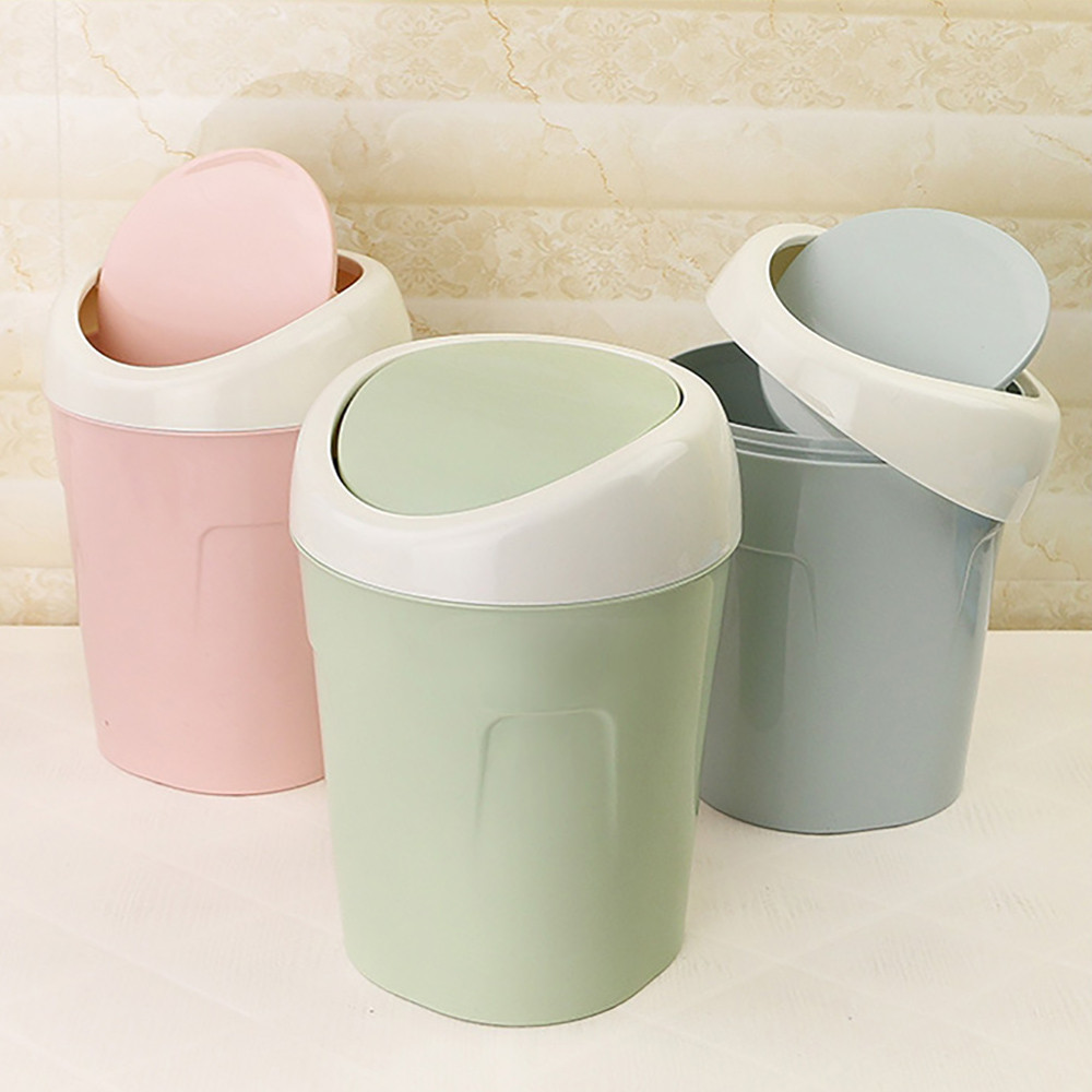 1PC Trash Can Trumpet Desktops Mini Creative Covered Kitchen Living Room Trash Can Rolling cover Green Pink
