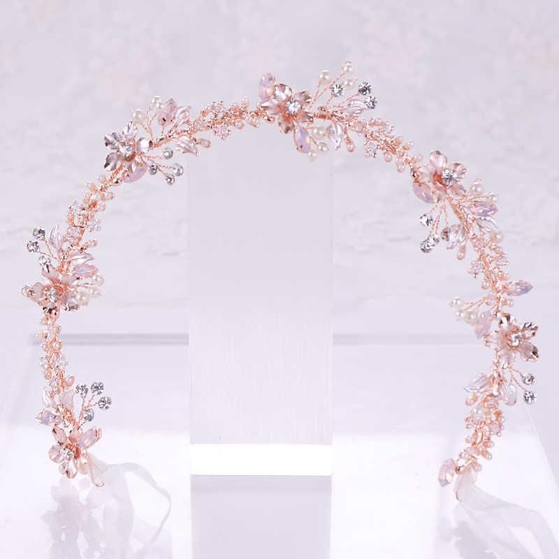 أحدث تصميم شعر ذهبي وردي مجوهرات اللؤلؤ كريستال زهرة Tiara Headbands اليدوية الزفاف العصابات الشعر الزفاف الحلي الطرف