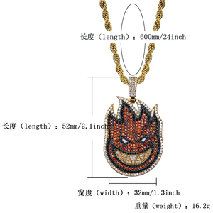 Image 5 - TOPGRILLZ Spitfire Pendant Necklace Iced Out Chain Gold Color With Tennis Chain With Cubic Zircon Mens Hip hop Rock Jewelry
