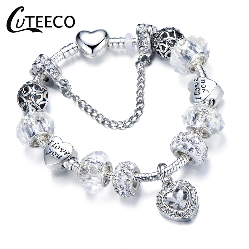 CUTEECO Silver Sparkling Zircon Charms Bracelet For Women Girl Fashion Love Heart Beads Brand Bangles Femme Jewelry