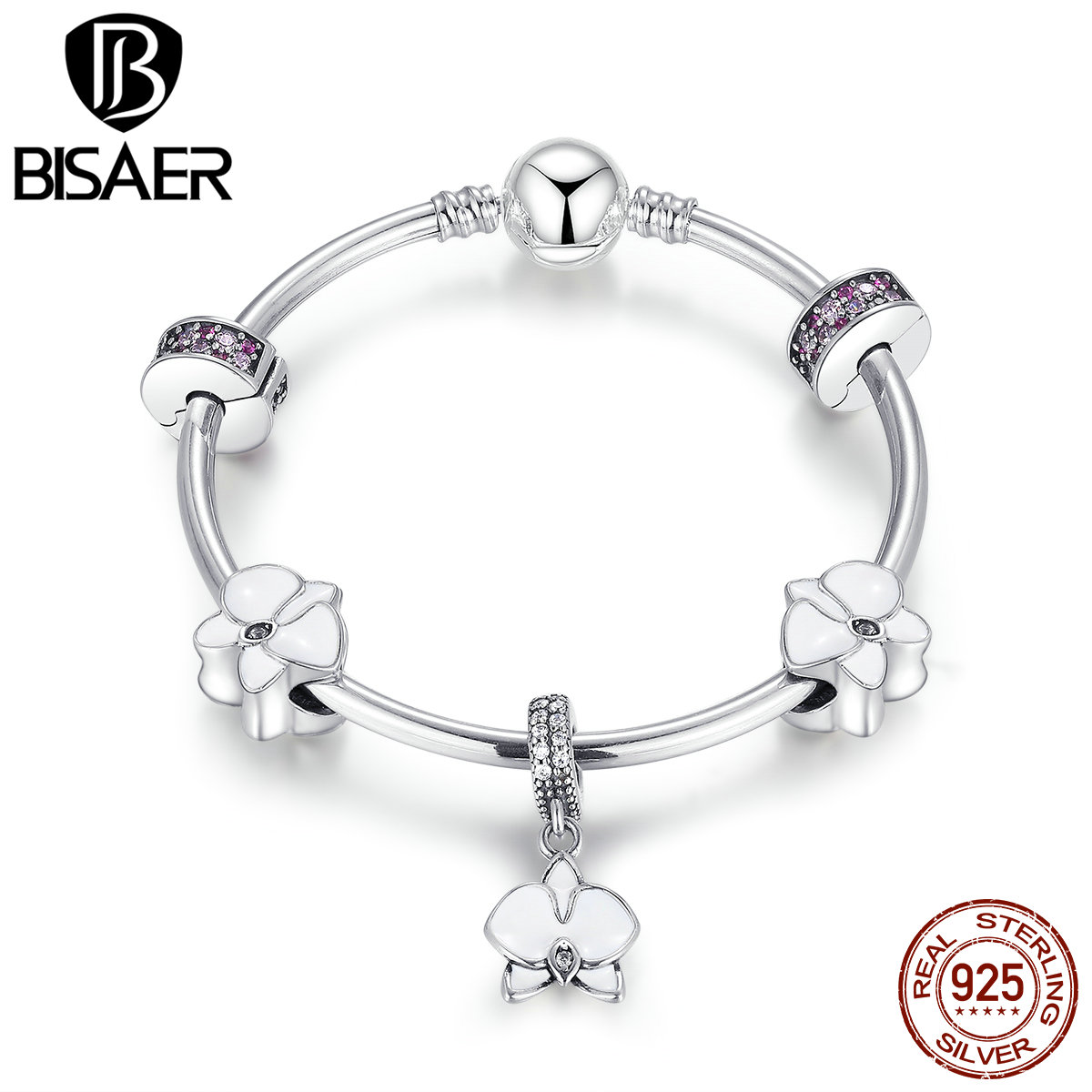 925 Sterling Silver Butterfly Orchid Pendant, Flower Girl Bangle Women Bracelet Bangles Authentic Original Jewelry EDB012 stylish butterfly pendant multi layered bracelet watch for women