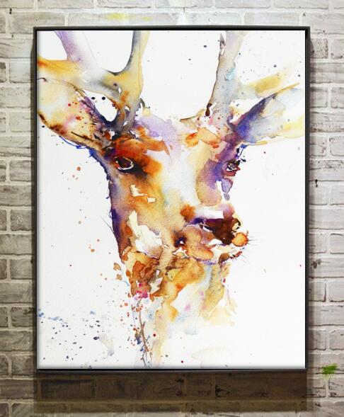 Peint À La Main Célèbre Artiste Peinture Abstraite Cerf Art Sur