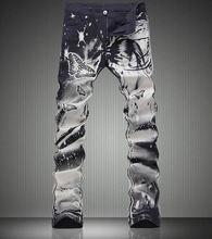 Новая мода Бабочка Печати Черные Брюки Мода Slim Джинсы