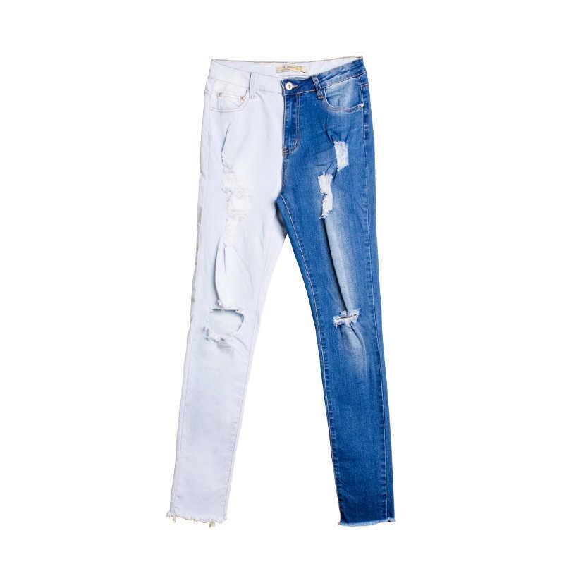 600acea116b ... WQJGR панельные Джинсы женские 2018 Лето Новые Сращенные рваные джинсы  контрастного цвета джинсовые узкие брюки прилив ...