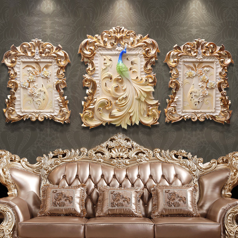 Européen de luxe en relief Restaurant 3D stéréo peintures murales résine artisanat décoration maison salon canapé mur fond ornement