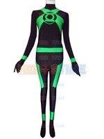 2015 حار بيع الأخضر فانوس السلك خارقة زي هالوين تأثيري دنة الأخضر فانوس تظهر زي zentai البدلة