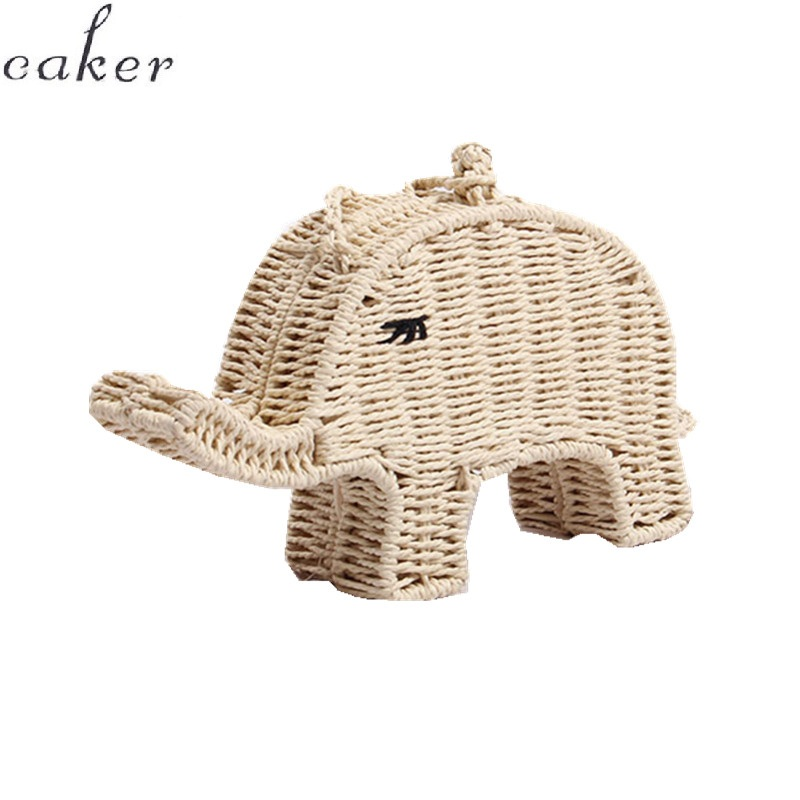 Caker Brand 2019 Girl Elephant Embroidery Straw Bags Fashion Kids Summer Beach Bag Wholesale