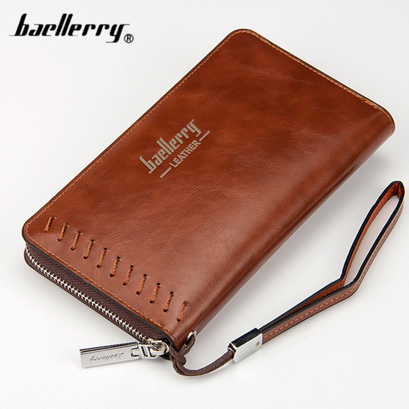 Baellerry 2017 New men wallets Casual wallet men purse Clutch bag Brand leather wallet long design men bag gift for men