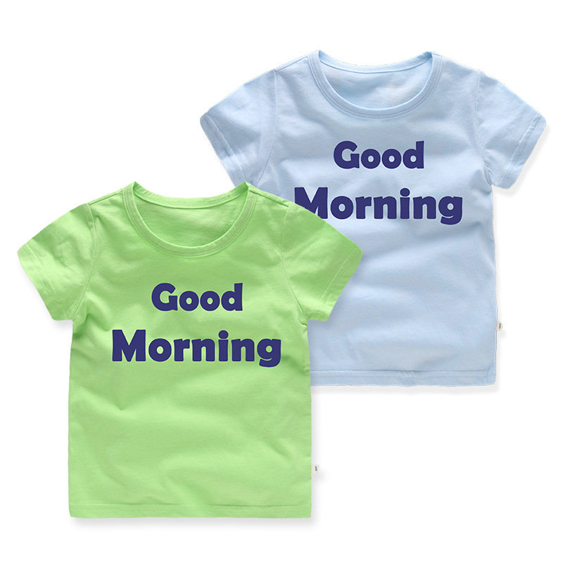 Casual Summer Good Morning Print Kids Tees Cotton Baby Boys T-Shirts For Age 2-8 Years O ...