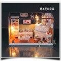 G002 hongda DIY acolhedor quarto casa de bonecas modelo móveis em miniatura casa de bonecas de madeira brinquedo frete grátis