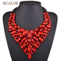 Luxury Shine Red Crystal Colorful Rhinestone Necklace Gold Plated Chain Bib Choker Statement Necklaces Pendants Wedding jewelry