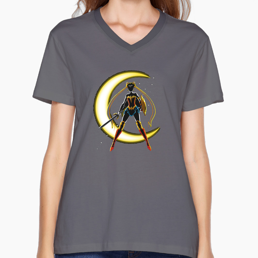 Wonder Moon Custom Cotton Printed O-Neck Short DeepHeather Camiseta Woman Fashion Hipster Hip Hop Tshirt