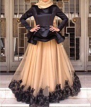 Muslim Long Sleeve Evening Dresses Champagne Tulle Black Appliques Ruffles With Hijab Satin A Line Formal Evening Gowns Dresses