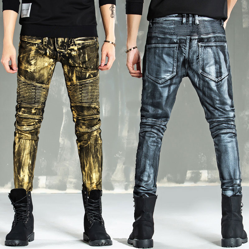 2019 New Biker Jeans Men High Stretch Cargo Denim Jeans With Zippers Pleated Slim Jean Men Scratched Pants Trousers!