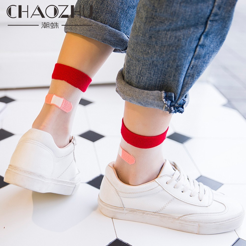 CHAOZHU Summer Women Sheer Socks Funny Creative Design Heel Fake Band Aid Transparent Socks Medias For Girls Lady Sandals Socks