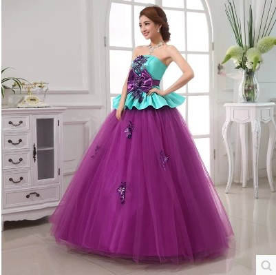 Organza Crystal Appliques Strapless Ball Gown Vintage Women Formal Dress Floor Length Quinceanera Dresses Coral Sweet