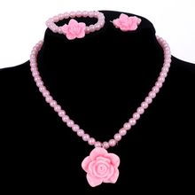 Girls Pink Imitation Pearl Necklace Resin Flower Pendant Choker Necklace Bracelet Ring Jewelry Sets Cheap Price Children Jewelry(China)