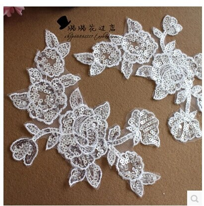 Big promotion 21*15cm  all the sequins  ivory  lace  applique  for dress  wedding dress   DIY  Manual accessories   4pcs/bag s01