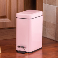 HOT Pedal Bin Household Trash Can Mute Stainless Steel Kitchen Trash Bin with Liner TI99