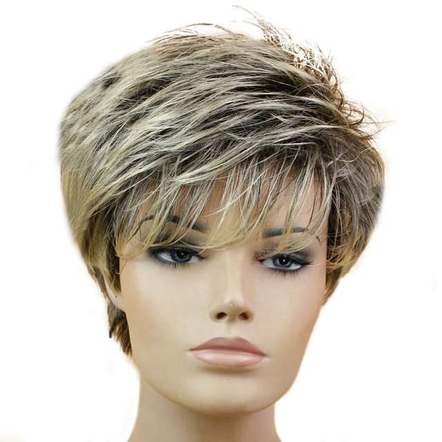 Miss Wig Black Mixed Blonde Straight Wig Short Pixie Haircut Style