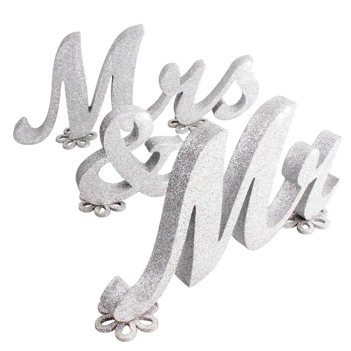 Lấp Lánh Mr & Mrs Chữ Cái Bằng Gỗ Ký Quà cưới cho Đám Cưới Trang Trí (Bạc)