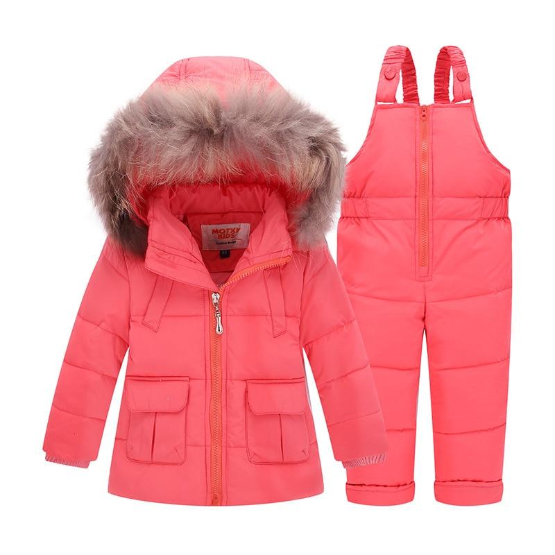 30 grados niño pato abajo niños Snowsuit invierno niños chaquetas niñas  trajes chaqueta + Pantalones del babero para 1 3 años en Parkas y Plumas de  Mamá y ... 2baf7e6d89847