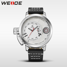 WEIDE men watches brand luxury men quartz sports wrist watch casual genuine water resistant analog leather white watch man clock luxury white ceramic water resistant classic easy read sports women wrist watch free shipping top quality lady ceramic watches