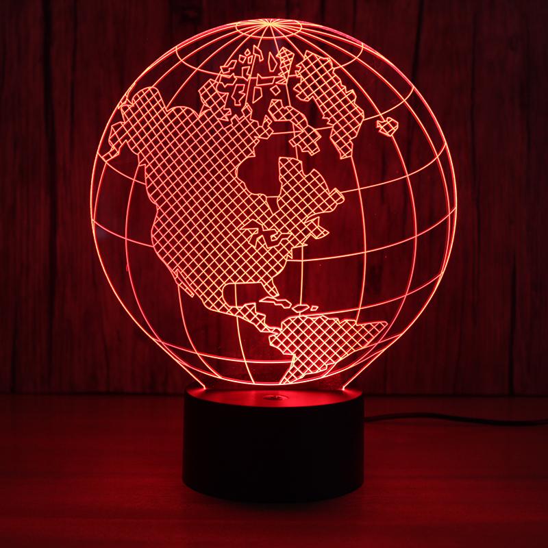 3D Led Visual World Map Night Lights Kids Gifts USB Light Fixture ...